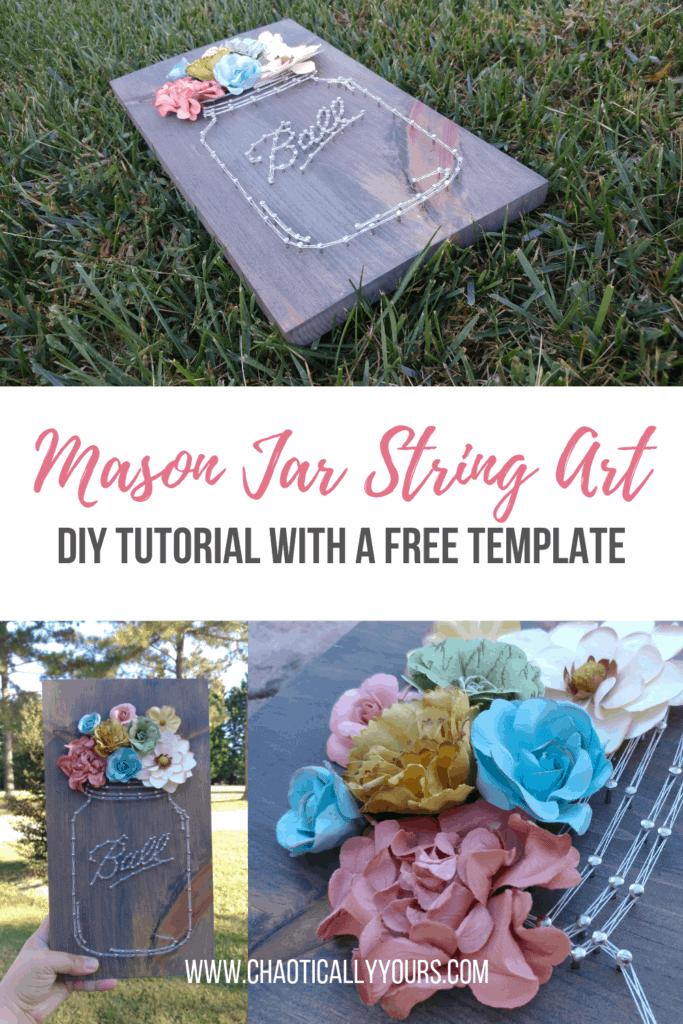 Mason Jar String Art Tutorial - DIY Project with Free Template