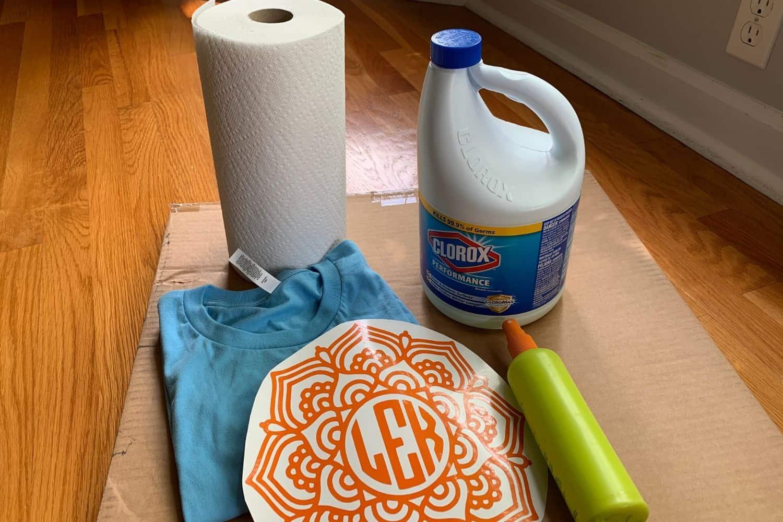 Supplies to make stencil bleached shirts
