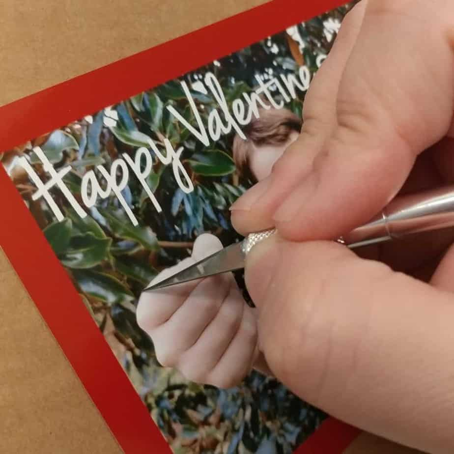 Cutting the slit in the DIY Valentines Card