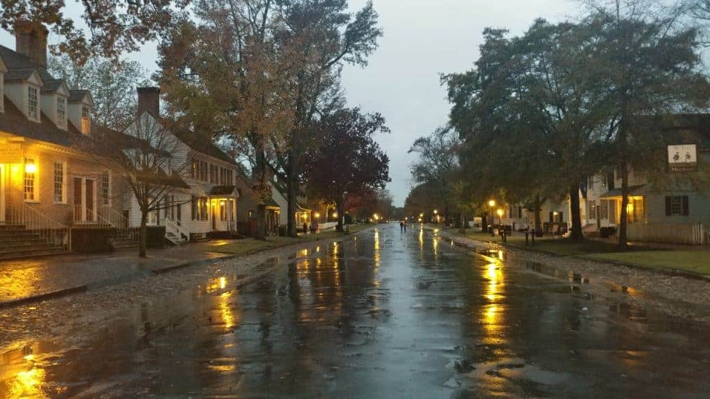 Colonial Williamsburg: a rainy evening on the Duke of Gloucester Street