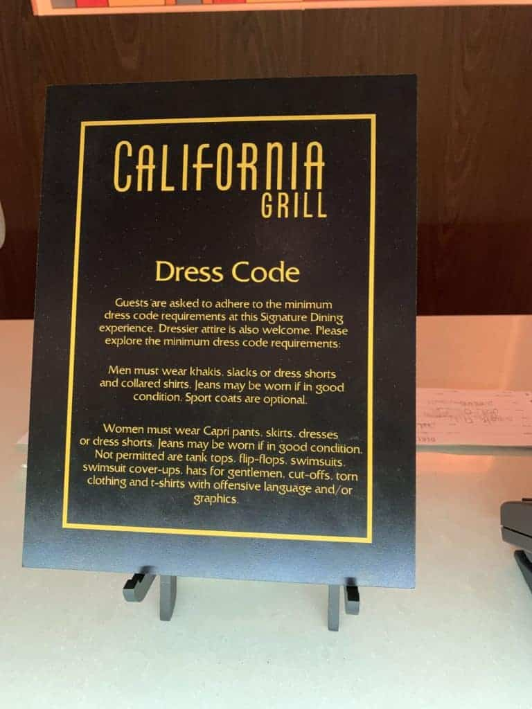 The dress code at the California Grill at the Contemporary Resort at Walt Disney World