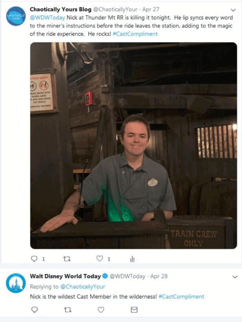 A recent #CastCompliment Tweet I sent for a Disney Cast Member