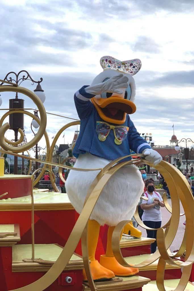 Donald Duck at a Character Cavalcade at Walt Disney World