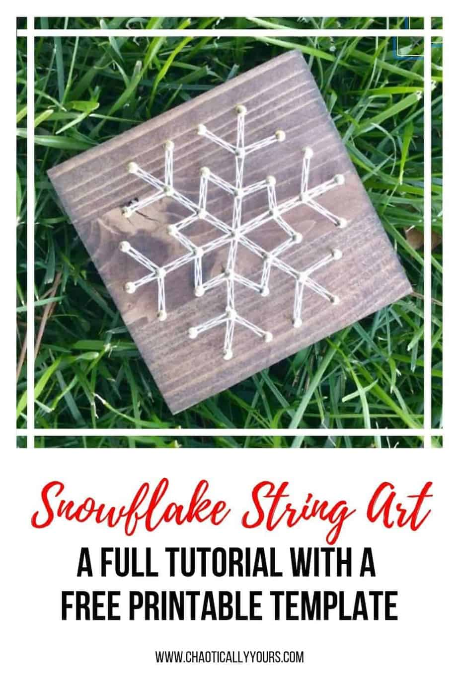 Simple snow flake string art tutorial with free printable template