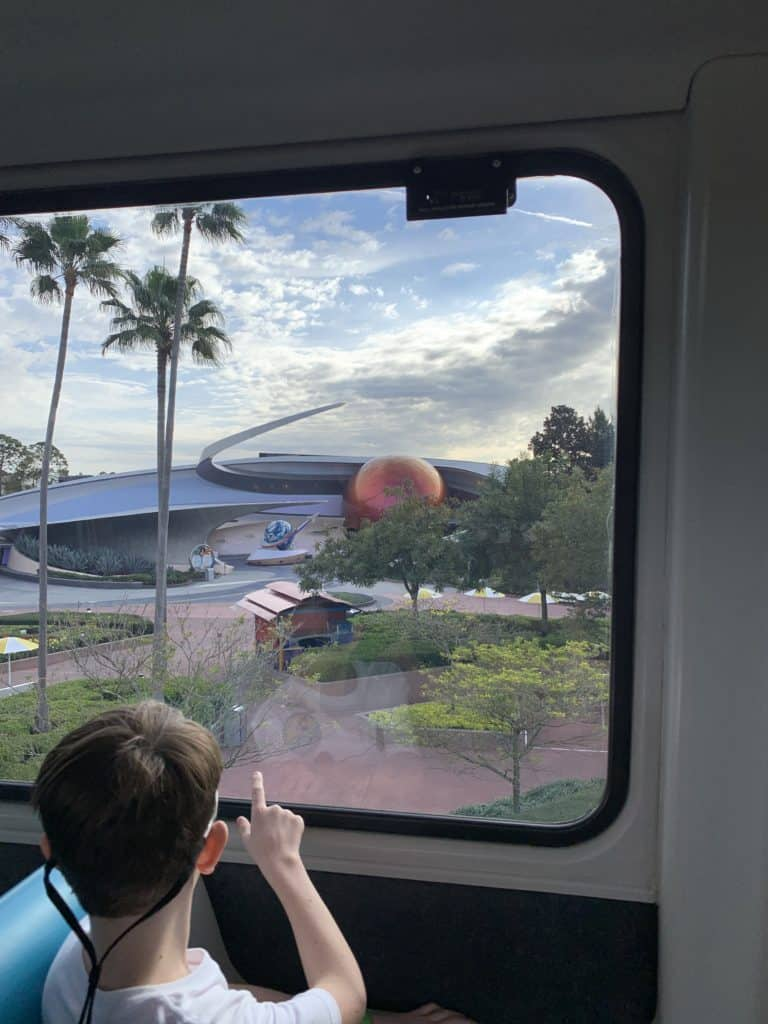 Enjoying the view from the Epcot Monorail at Walt Disney World
