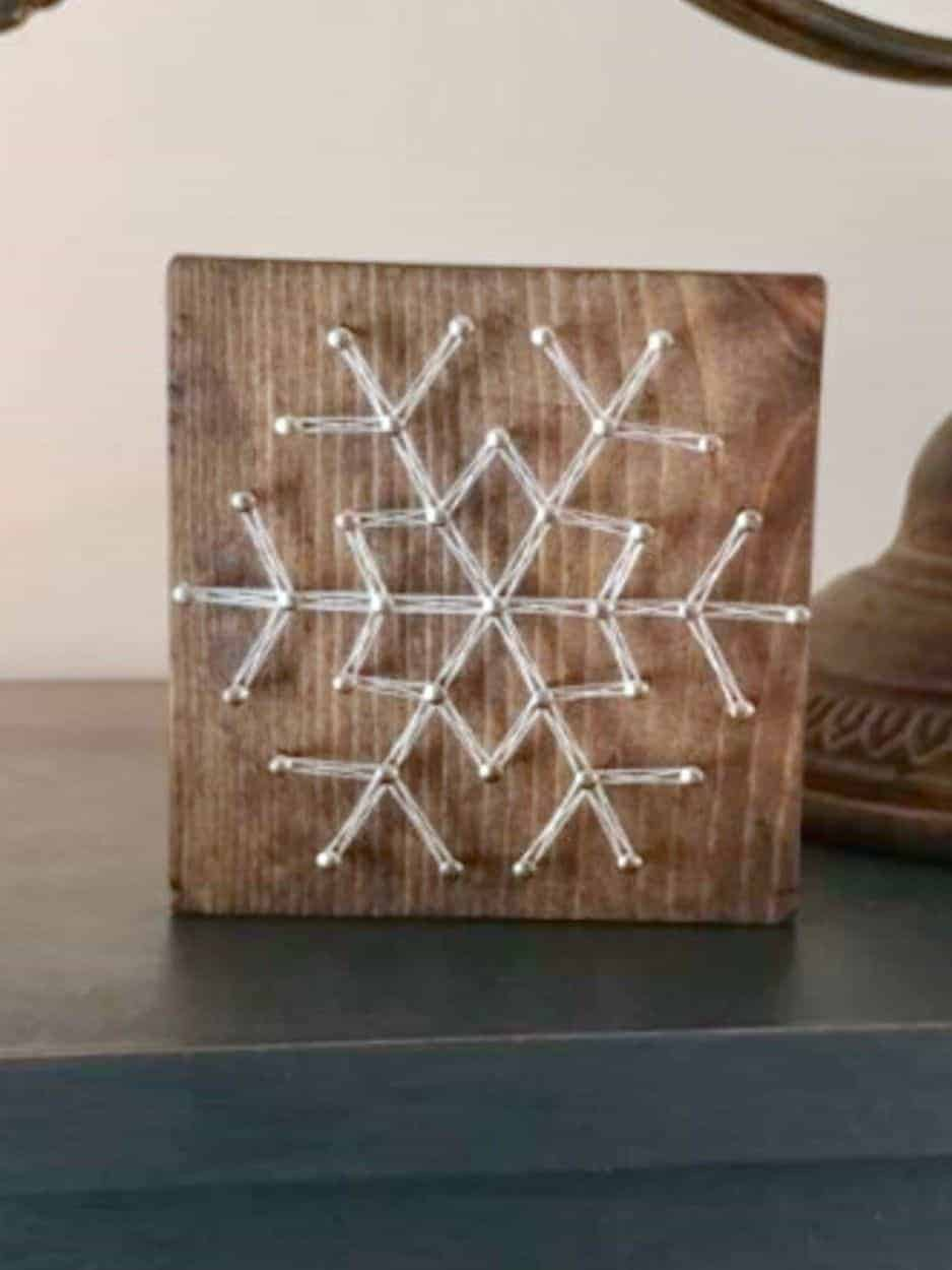 Adorable snowflake string art finished project