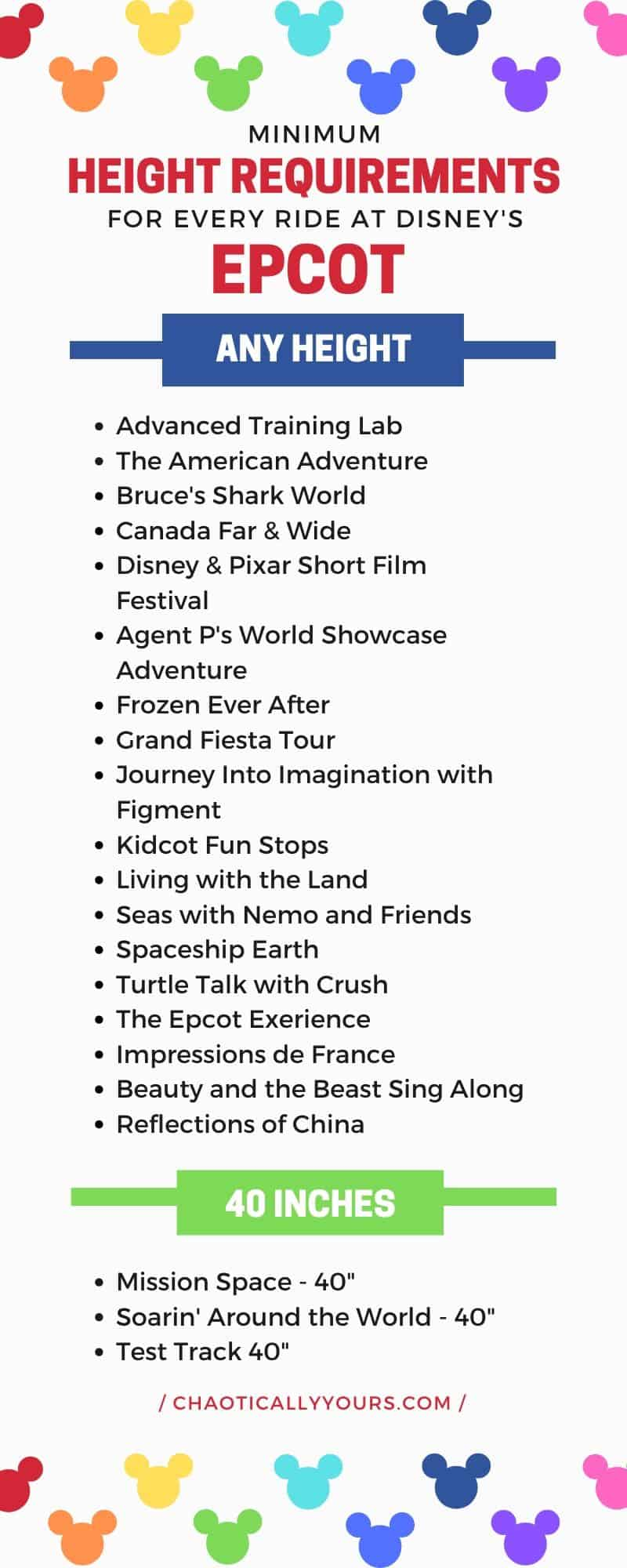 List of Disney World Height Requirements for Rides in Epcot