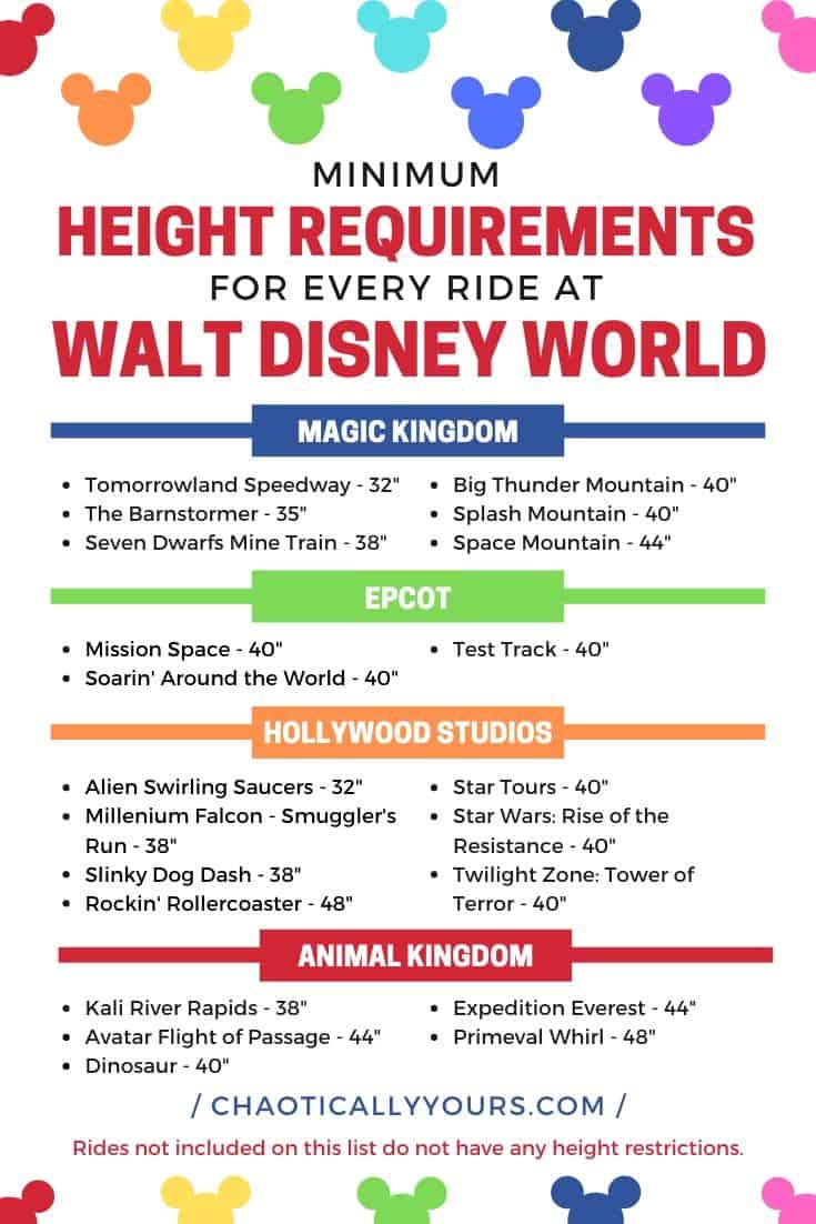 Chart of the Minimum Height Requirement for Every Ride At Disney World