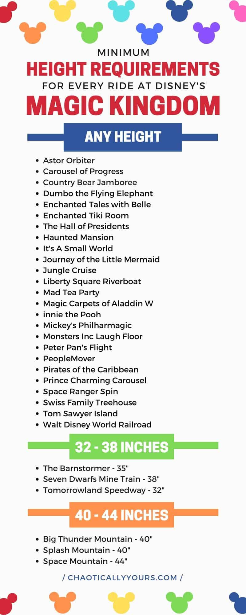 List of Disney Height Requirements for Rides in the Magic Kingdom