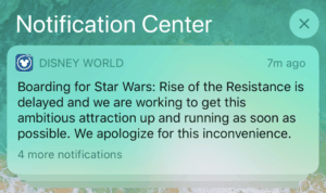 Screenshot of delay notification for Ride of the Resistance