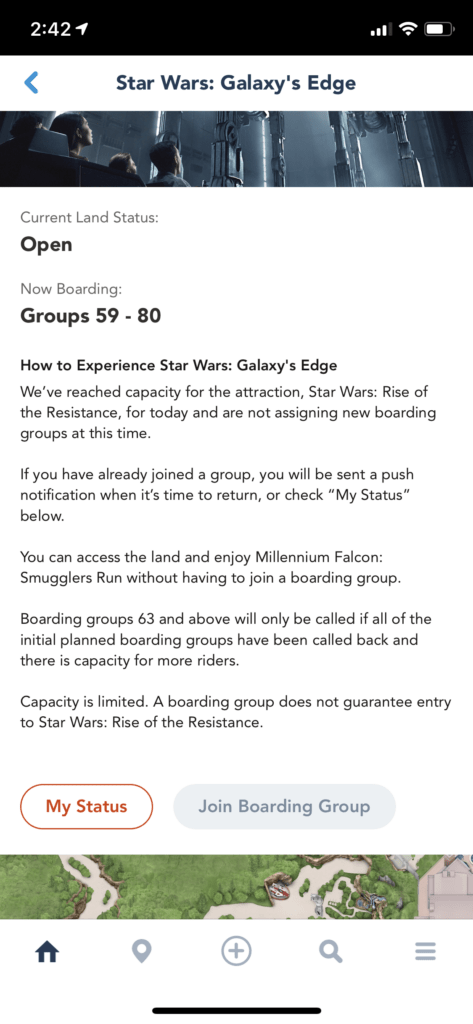 My Disney Experience Rise of the Resistance Boarding Groups Screen Shot