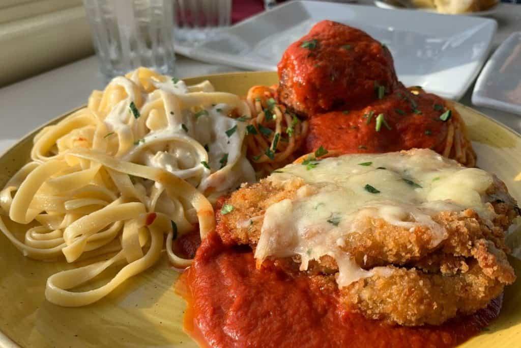 The Italian Trio dish from Tonys Town Square Restaurant at Walt Disney World.