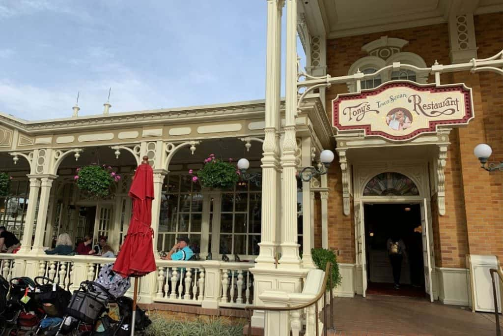 Entrance and porch of Tonys Town Square Restaurant in Walt Disney World