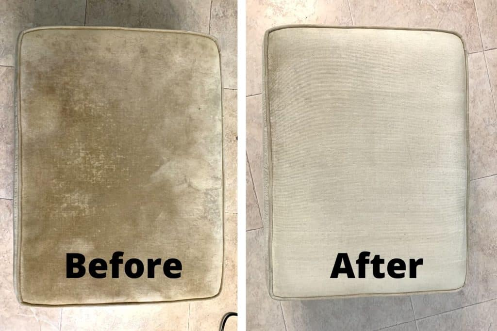 Before and after results from a DIY Upholstery Cleaner