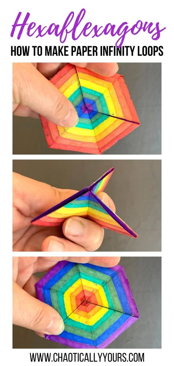 Hexaflexagon: How to make paper infinity loops pin image