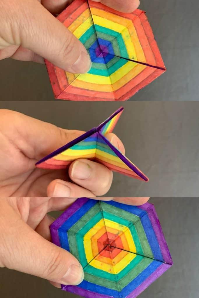 steps to opening a hexaflexagon