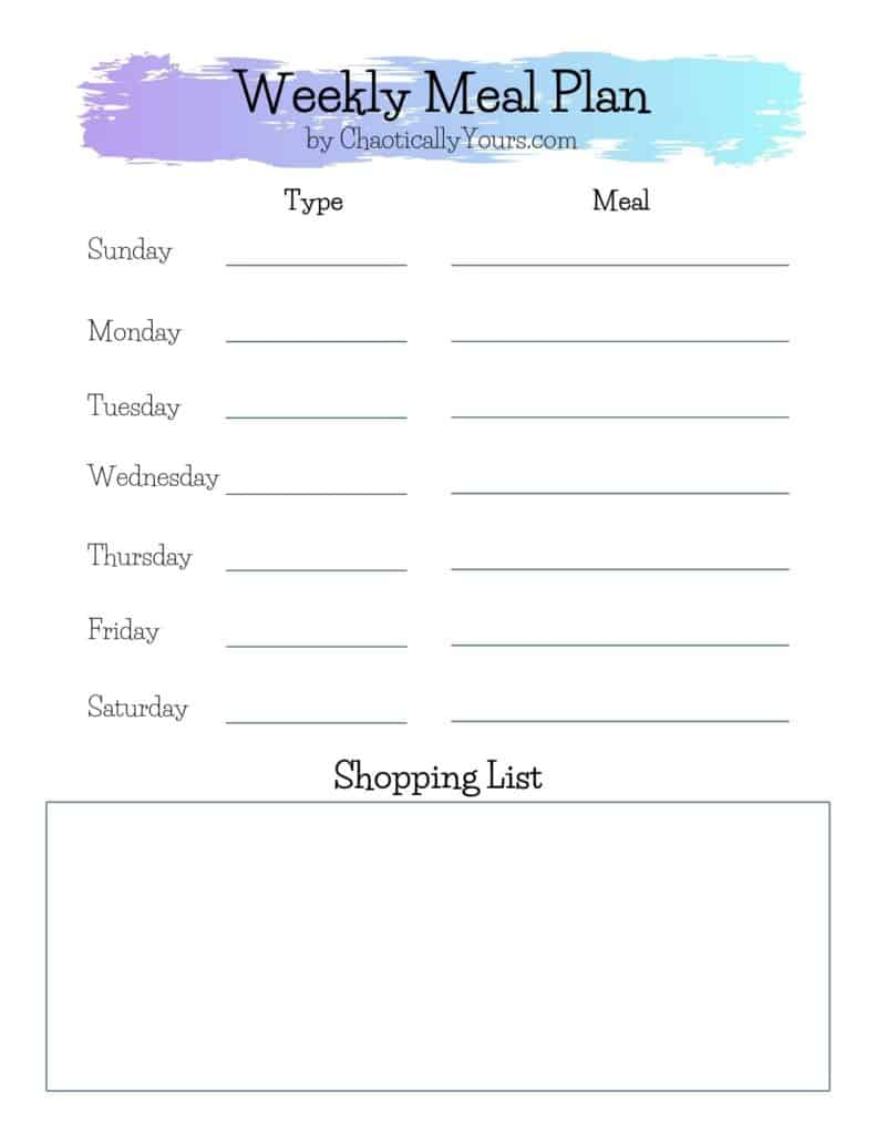 Picture of downloadable weekly meal plan