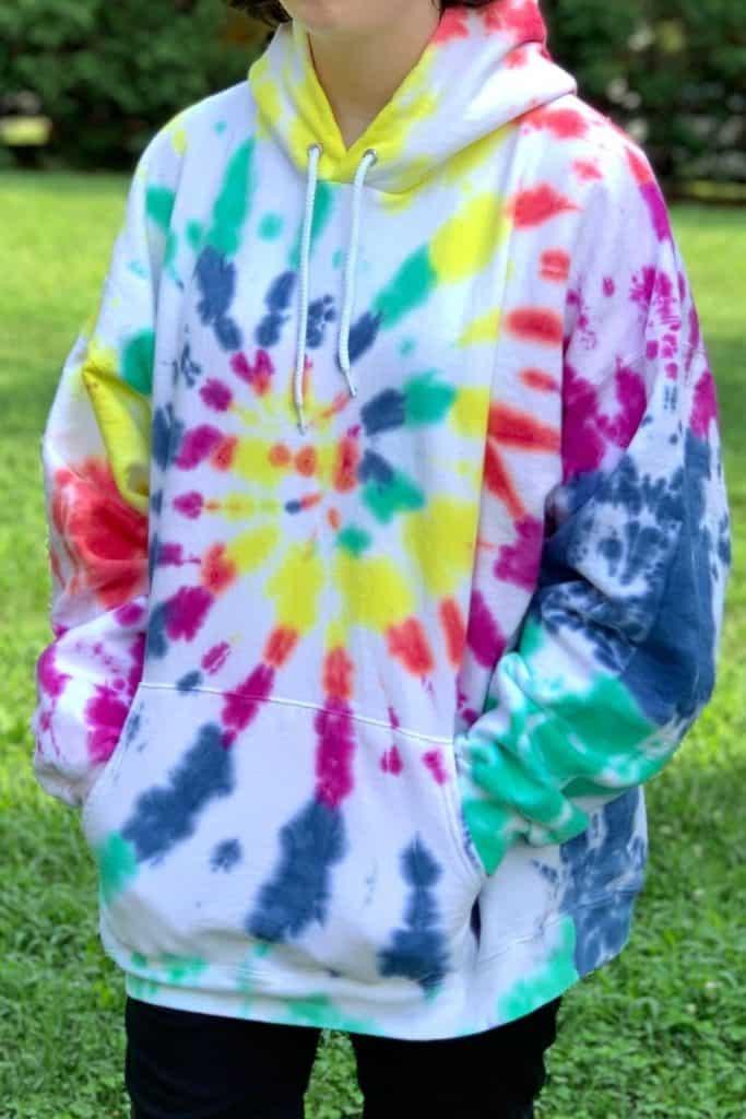 finished tie dye hoodie