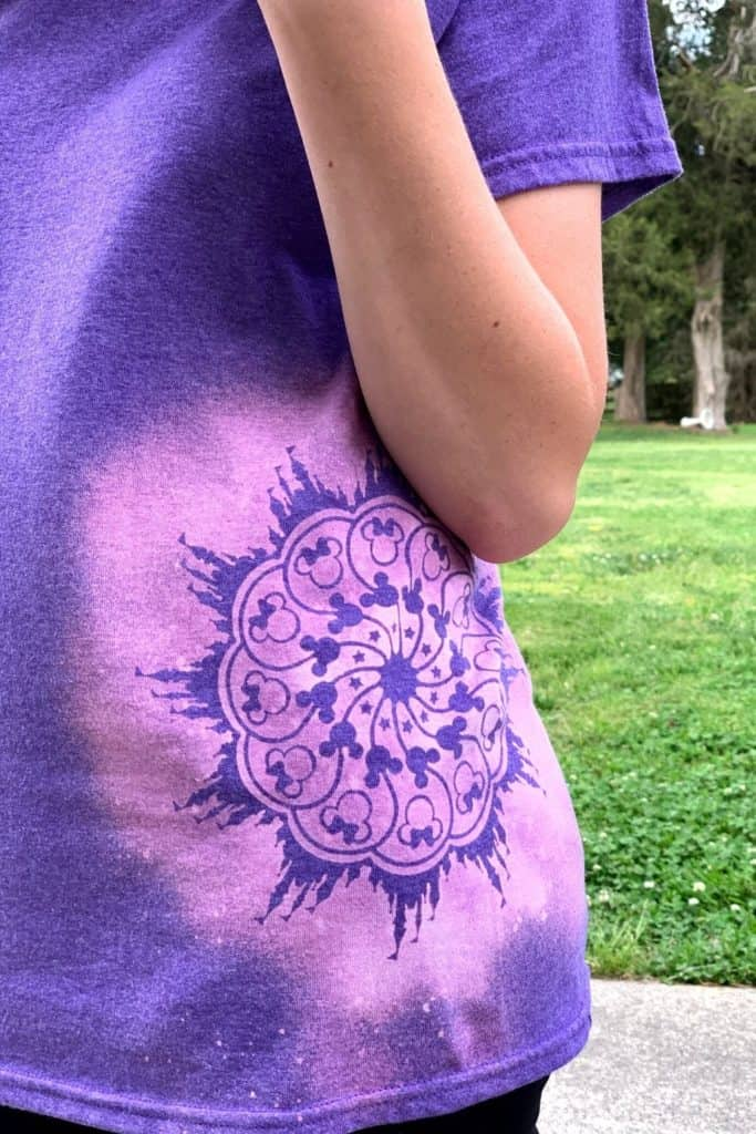 Finished stencil bleach shirt in purple