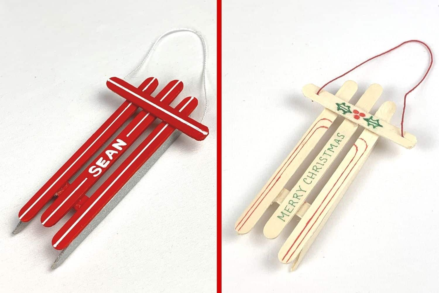 popsicle stick ornaments both variations