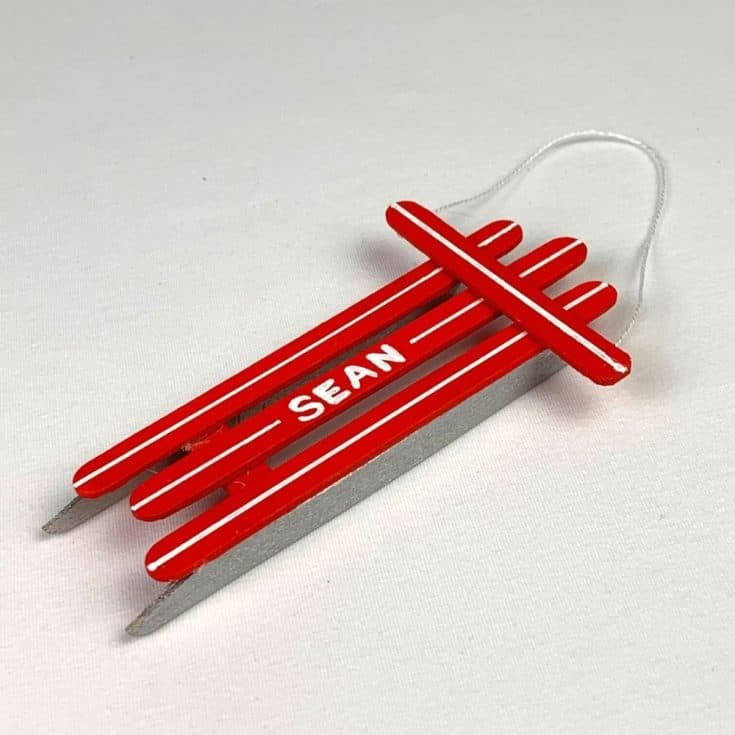 popsicle stick ornaments red sled