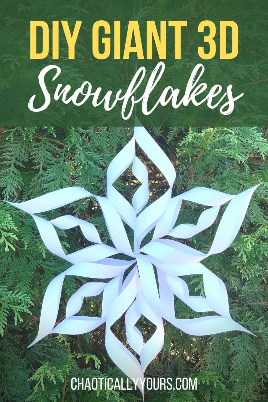 DIY giant 3d snowflakes pin image