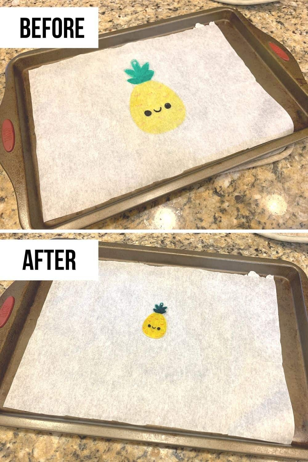 DIY Shrinky Dinks before and after applying heat