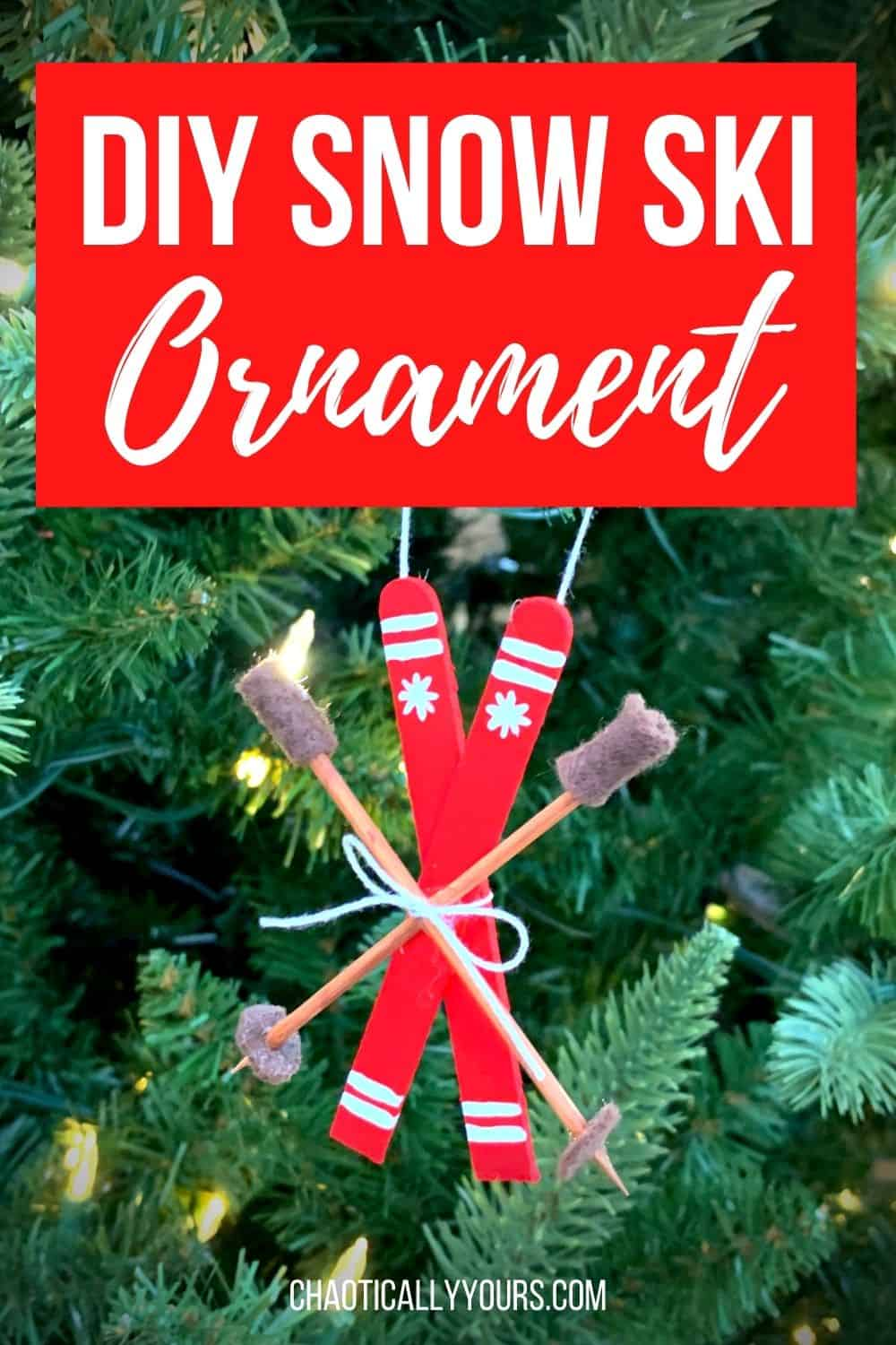 DIY Snow Ski Ornament Pin Image