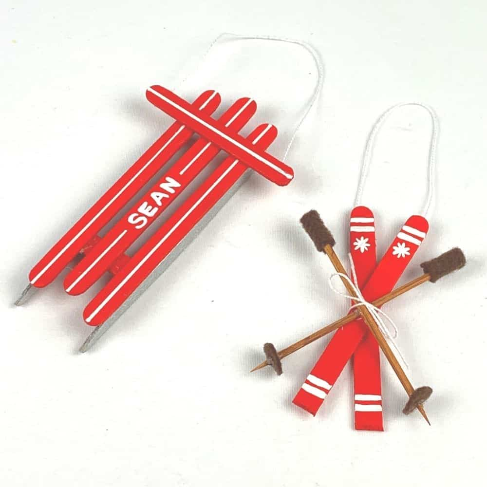 DIY Sled Ornament and DIY Snow Ski Ornament Set