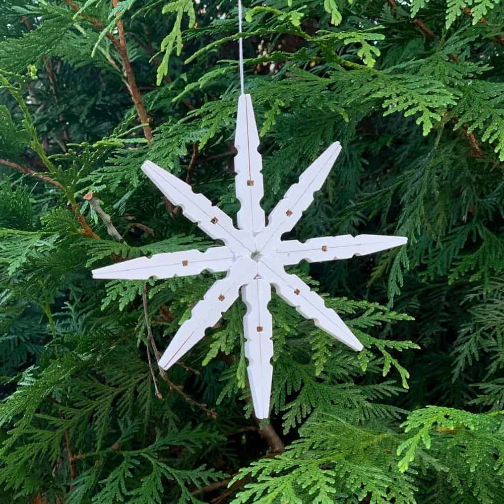 Snowflake clothespin ornaments