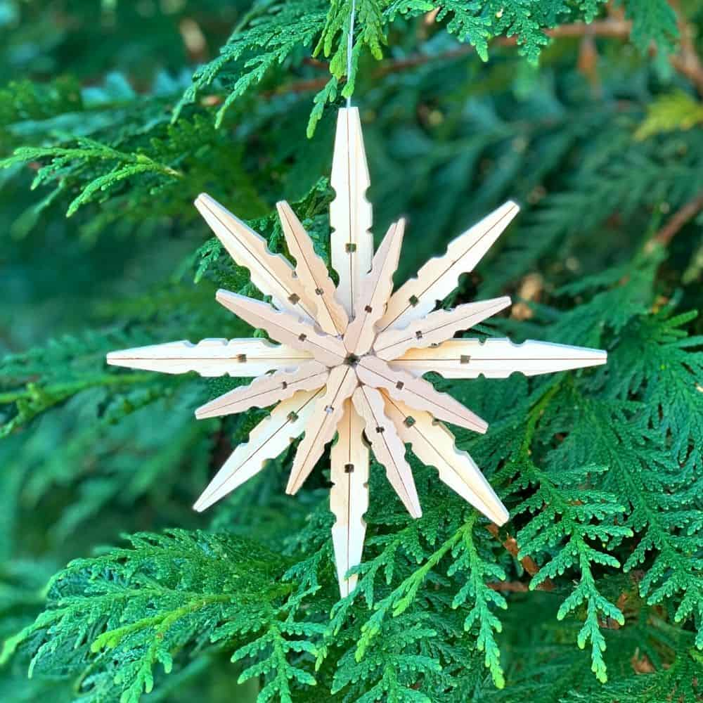 Unfinished rustic wooden star ornament