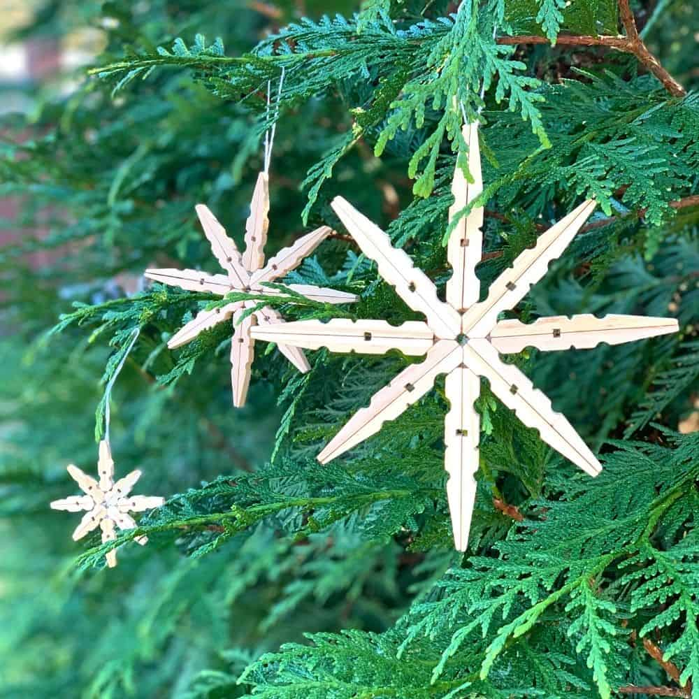 Three different sizes of these star rustic ornaments