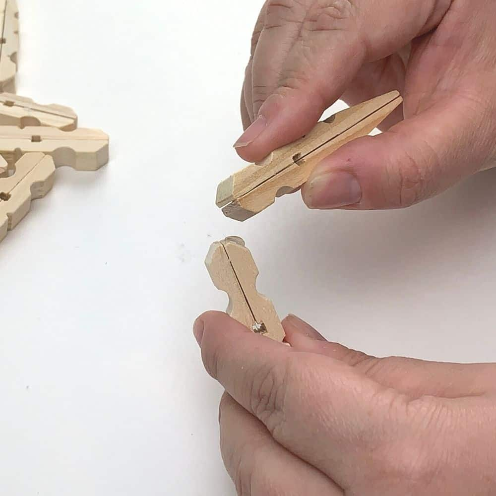 glue the clothespins at a right angle