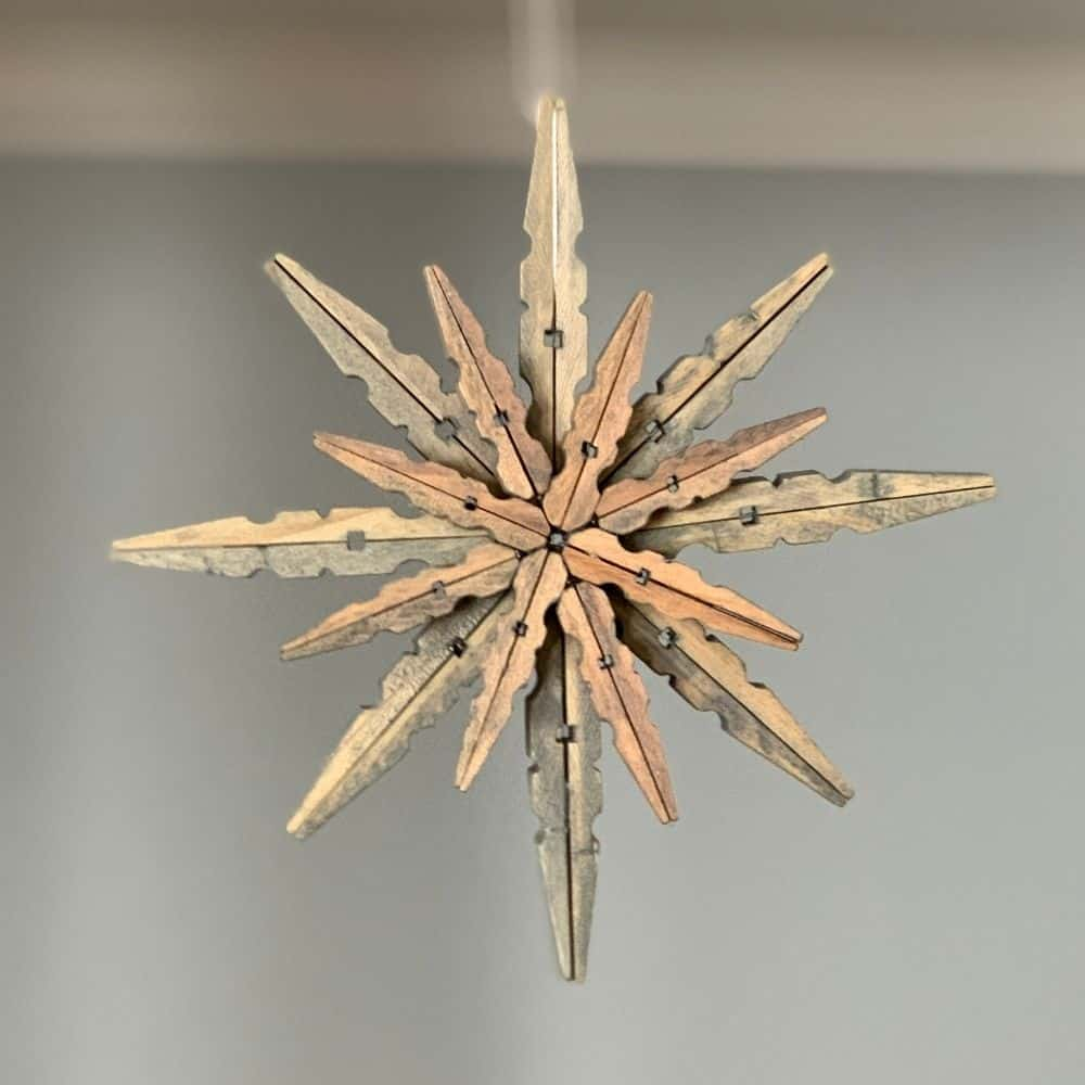 gray stained clothespin ornaments