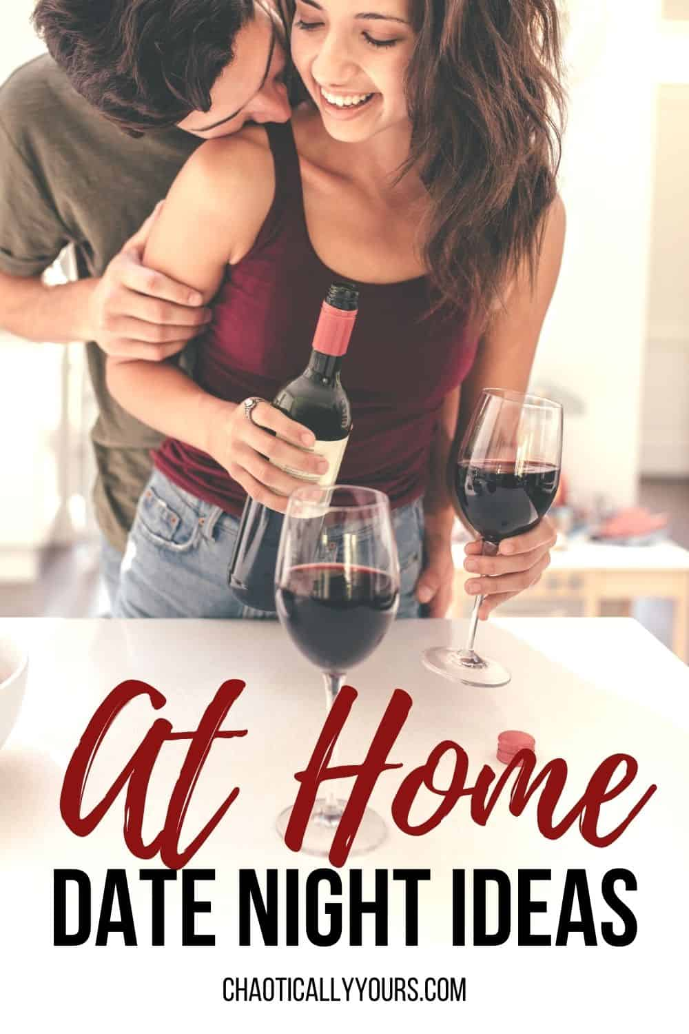 At home date night ideas pin image