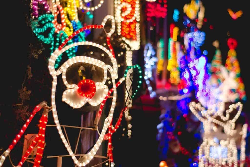 A christmas lights display