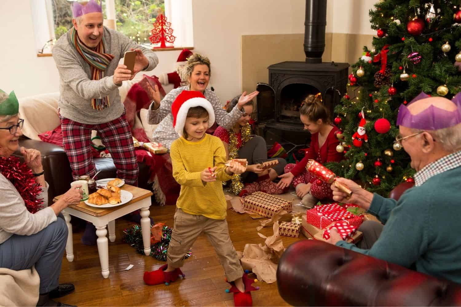 a family exchanging gifts on Christmas morning