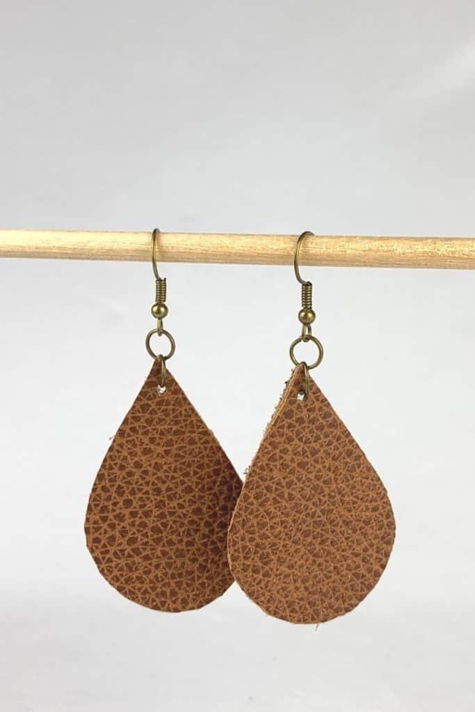 finished leather earrings