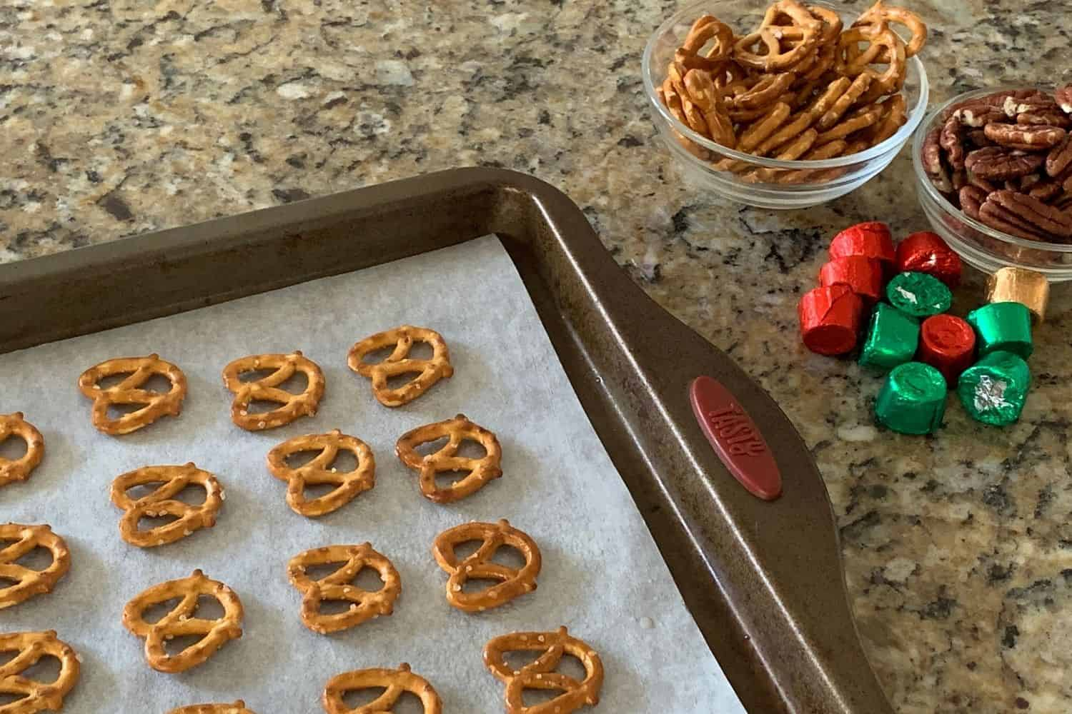 lay out the pretzels on a cookie sheet before baking