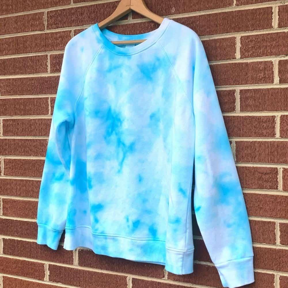 finished turquoise ice tie dye shirt