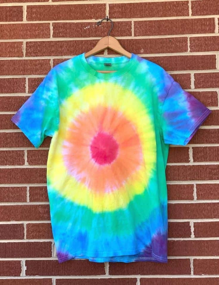 Finished bullseye tie dye t-shirt