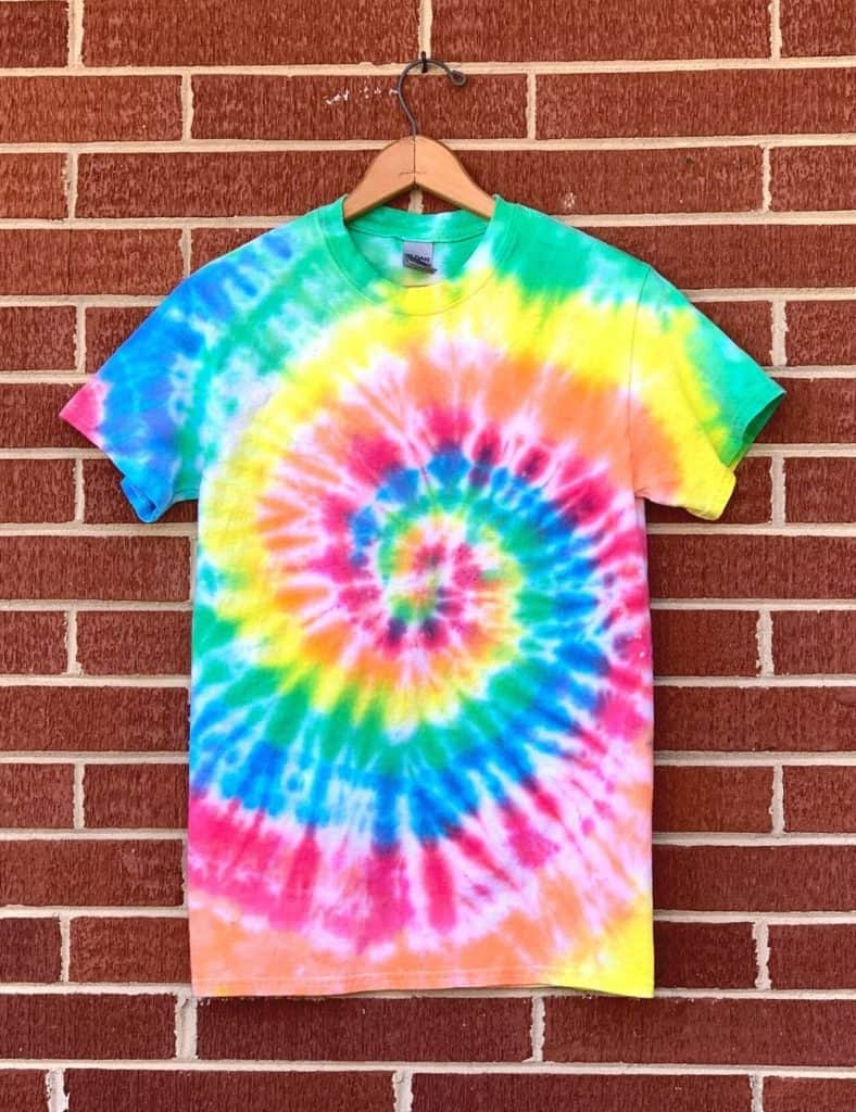 Finished spiral tie dye t-shirt