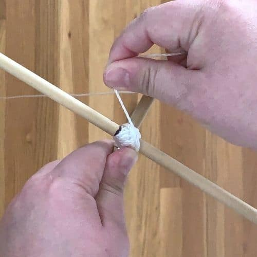 tying dowel rods together for a kite frame