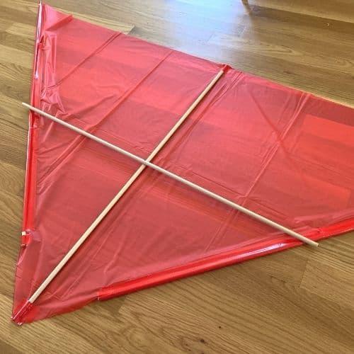 Attaching the horizontal dowel to the kite