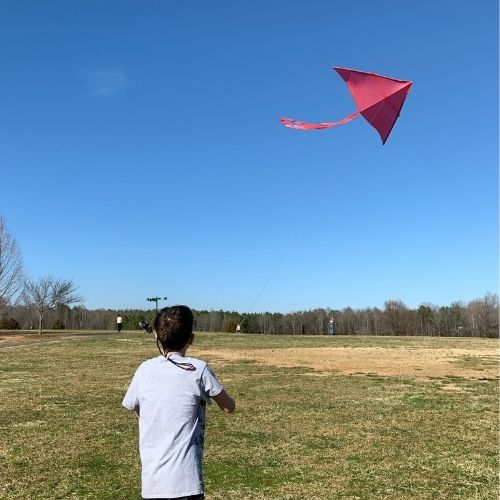 kid flying a red delta kite