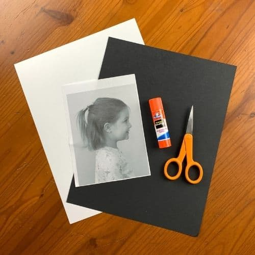 Supplies for cutting silhouettes