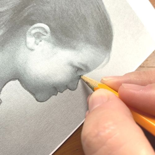 Tracing the silhouette for the portrait