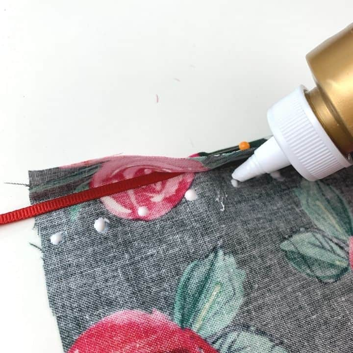 glueing the channel for a doll skirt