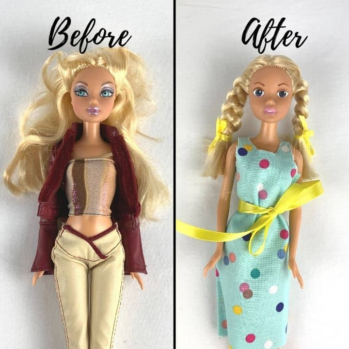 before and after a doll makeover