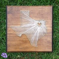 State string art in the shape of texas